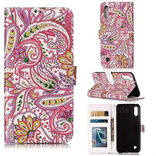Pepper Flowers 3D Relief Oil PU Leather Wallet Case for Samsung Galaxy A10