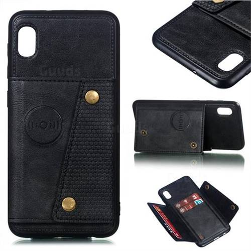 Retro Multifunction Card Slots Stand Leather Coated Phone Back Cover for Samsung Galaxy A10 - Black