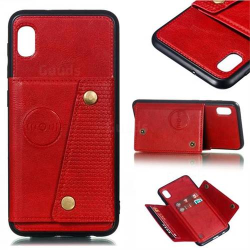 Retro Multifunction Card Slots Stand Leather Coated Phone Back Cover for Samsung Galaxy A10 - Red