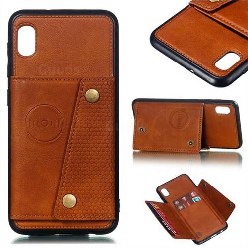 Retro Multifunction Card Slots Stand Leather Coated Phone Back Cover for Samsung Galaxy A10 - Brown