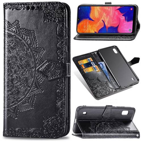 Embossing Imprint Mandala Flower Leather Wallet Case for Samsung Galaxy A10 - Black