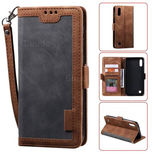 Luxury Retro Stitching Leather Wallet Phone Case for Samsung Galaxy A10 - Gray