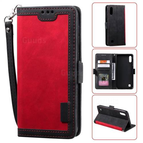 Luxury Retro Stitching Leather Wallet Phone Case for Samsung Galaxy A10 - Deep Red