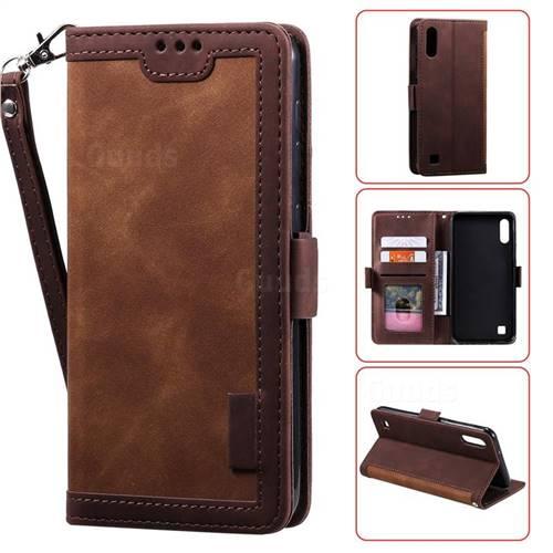Luxury Retro Stitching Leather Wallet Phone Case for Samsung Galaxy A10 - Dark Brown
