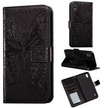 Intricate Embossing Vivid Butterfly Leather Wallet Case for Samsung Galaxy A10 - Black