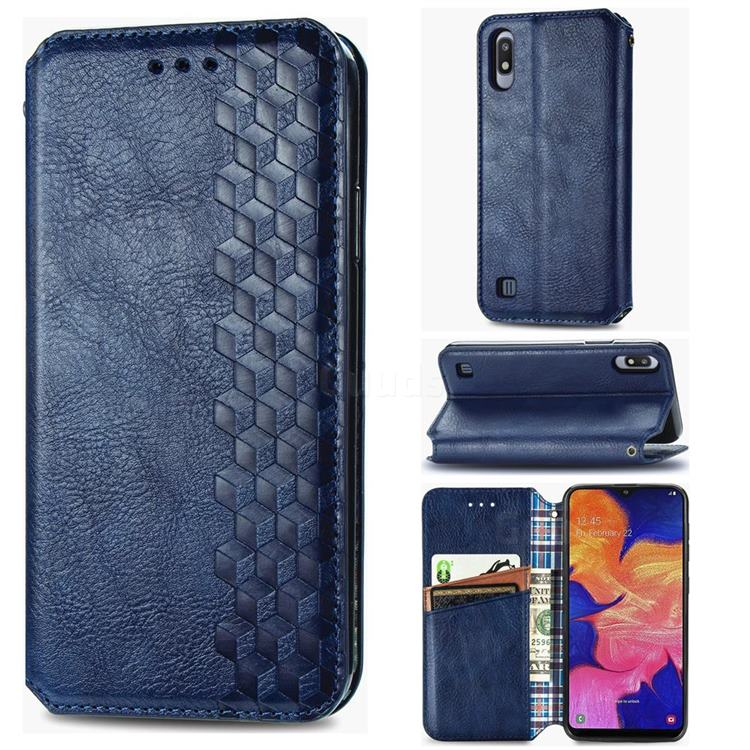 Ultra Slim Fashion Business Card Magnetic Automatic Suction Leather Flip Cover for Samsung Galaxy A10 - Dark Blue
