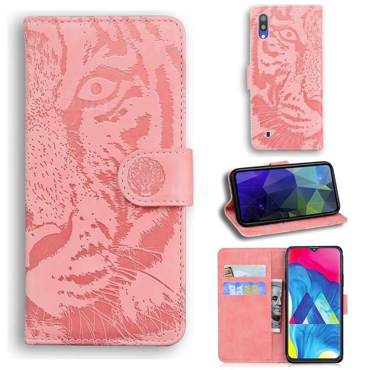 Intricate Embossing Tiger Face Leather Wallet Case for Samsung Galaxy A10 - Pink