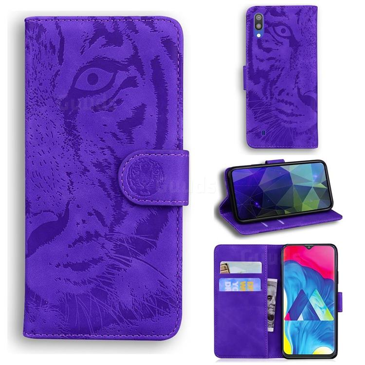 Intricate Embossing Tiger Face Leather Wallet Case for Samsung Galaxy A10 - Purple