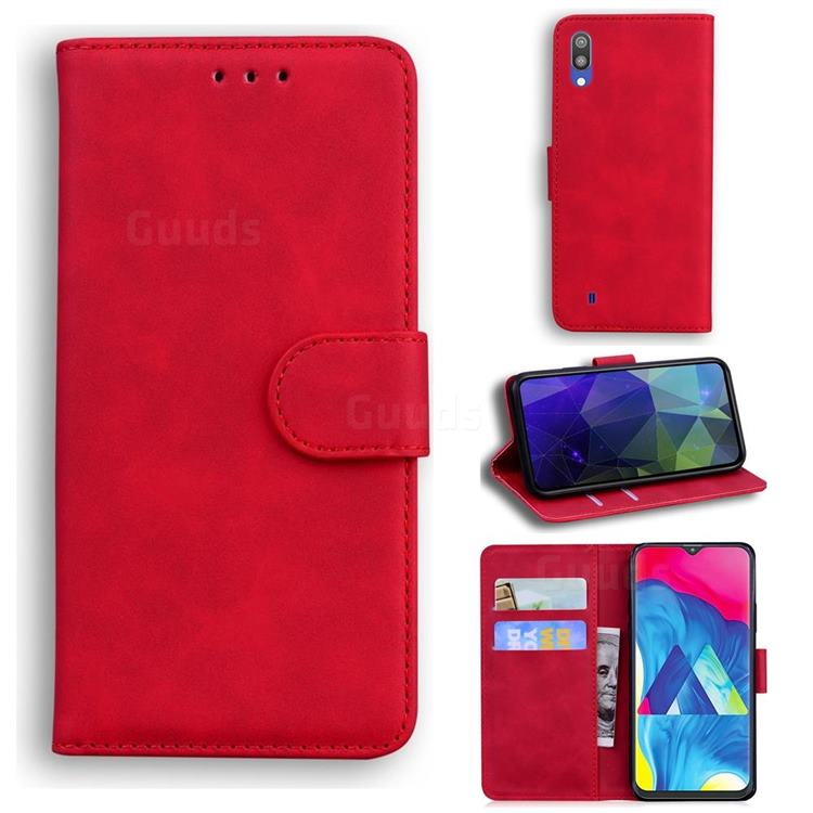 Retro Classic Skin Feel Leather Wallet Phone Case for Samsung Galaxy A10 - Red