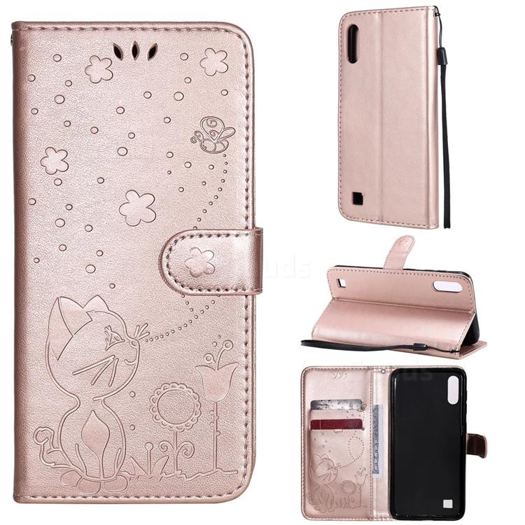 Embossing Bee and Cat Leather Wallet Case for Samsung Galaxy A10 - Rose Gold
