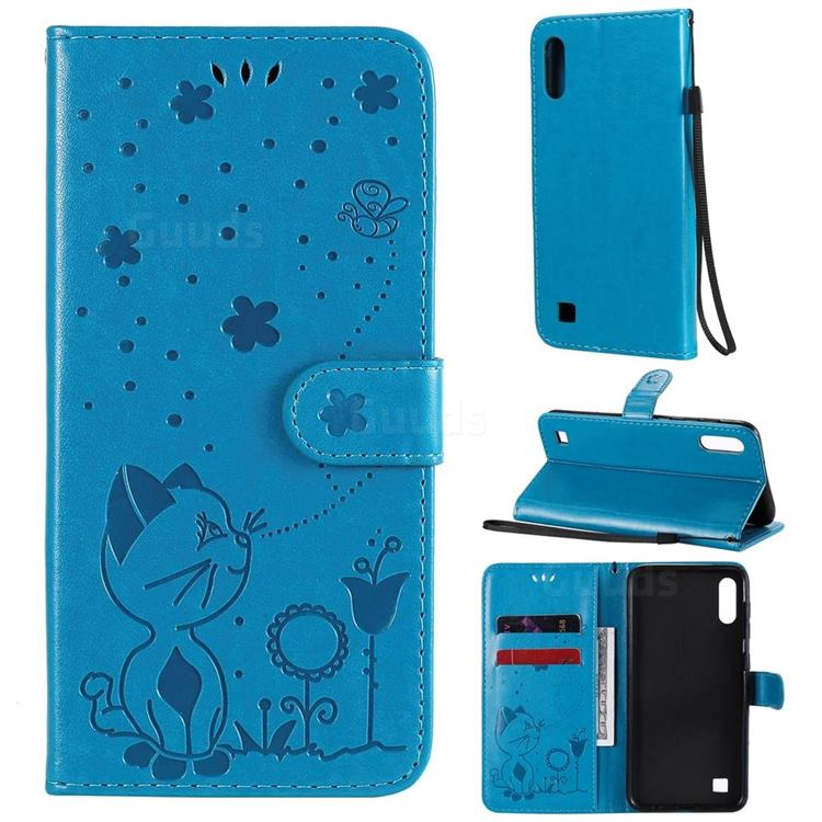 Embossing Bee and Cat Leather Wallet Case for Samsung Galaxy A10 - Blue