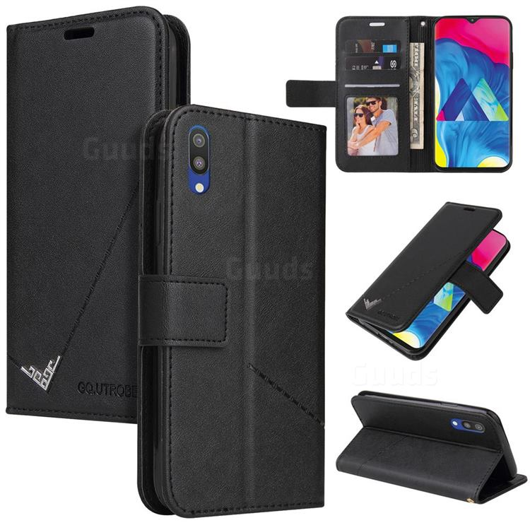GQ.UTROBE Right Angle Silver Pendant Leather Wallet Phone Case for Samsung Galaxy A10 - Black