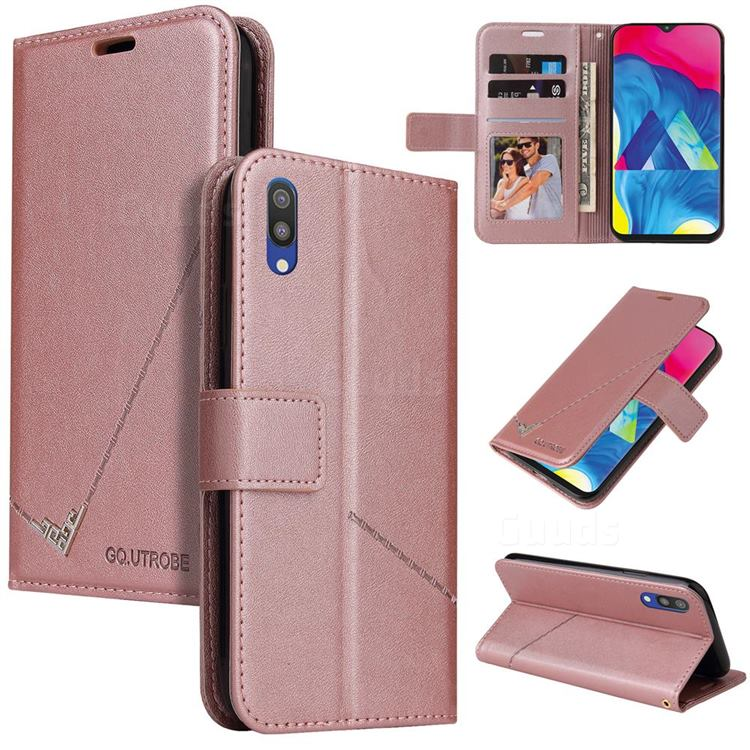 GQ.UTROBE Right Angle Silver Pendant Leather Wallet Phone Case for Samsung Galaxy A10 - Rose Gold