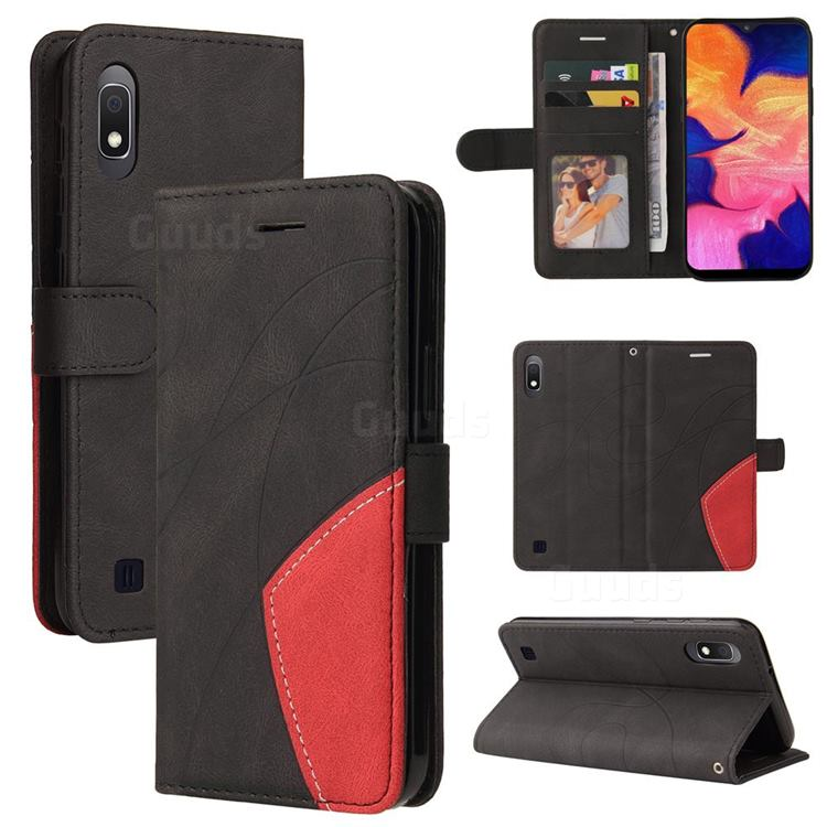 Luxury Two-color Stitching Leather Wallet Case Cover for Samsung Galaxy A10 - Black