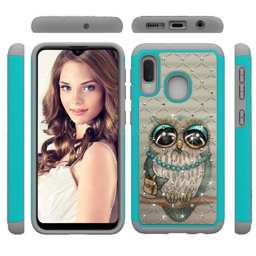 Sweet Gray Owl Studded Rhinestone Bling Diamond Shock Absorbing Hybrid Defender Rugged Phone Case Cover for Samsung Galaxy A10e