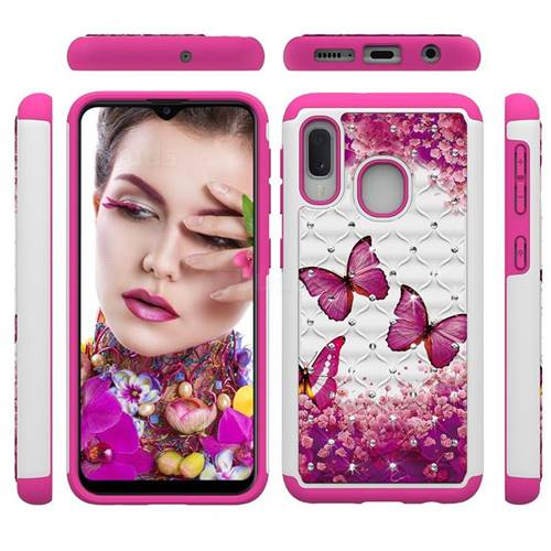 Rose Butterfly Studded Rhinestone Bling Diamond Shock Absorbing Hybrid Defender Rugged Phone Case Cover for Samsung Galaxy A10e