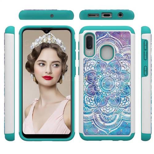 Mandala Studded Rhinestone Bling Diamond Shock Absorbing Hybrid Defender Rugged Phone Case Cover for Samsung Galaxy A10e