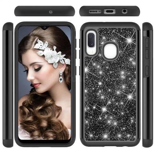 Glitter Rhinestone Bling Shock Absorbing Hybrid Defender Rugged Phone Case Cover for Samsung Galaxy A10e - Black