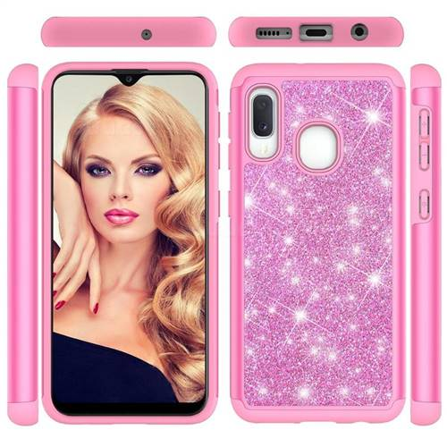Glitter Rhinestone Bling Shock Absorbing Hybrid Defender Rugged Phone Case Cover for Samsung Galaxy A10e - Pink