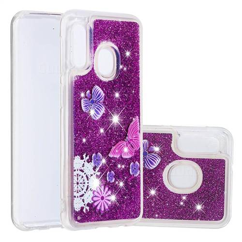 Purple Flower Butterfly Dynamic Liquid Glitter Quicksand Soft TPU Case for Samsung Galaxy A10e