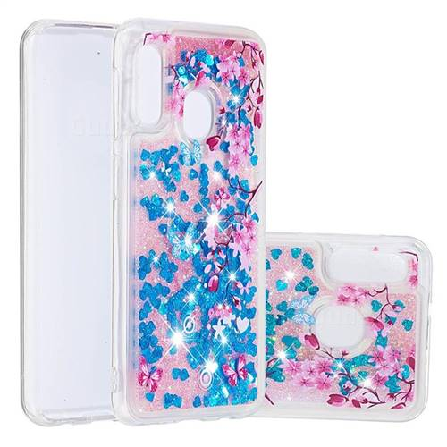 Blue Plum Blossom Dynamic Liquid Glitter Quicksand Soft TPU Case for Samsung Galaxy A10e