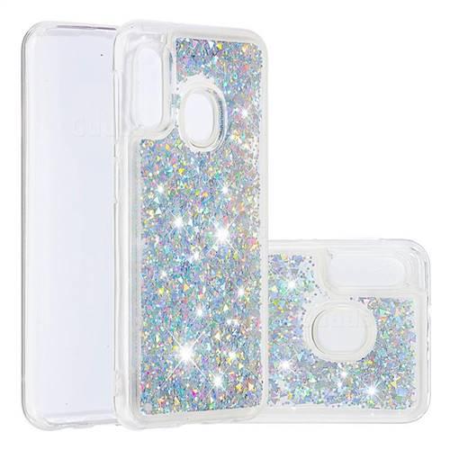 Dynamic Liquid Glitter Quicksand Sequins TPU Phone Case for Samsung Galaxy A10e - Silver