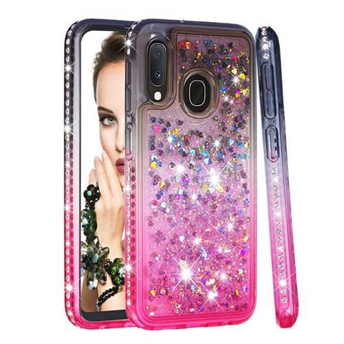 Diamond Frame Liquid Glitter Quicksand Sequins Phone Case for Samsung Galaxy A10e - Gray Pink