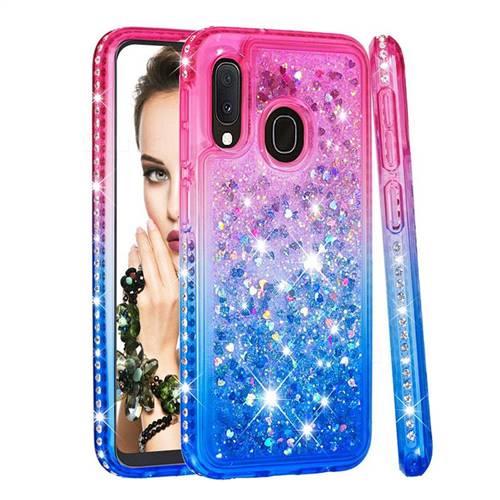 Diamond Frame Liquid Glitter Quicksand Sequins Phone Case for Samsung Galaxy A10e - Pink Blue