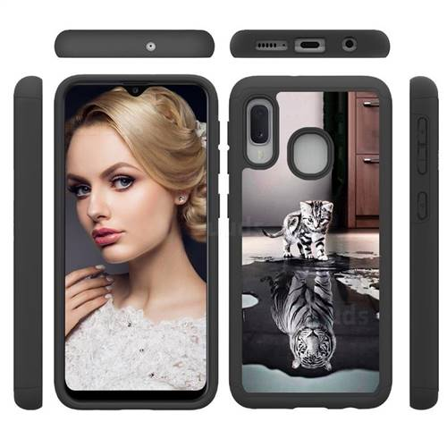 Cat and Tiger Shock Absorbing Hybrid Defender Rugged Phone Case Cover for Samsung Galaxy A10e
