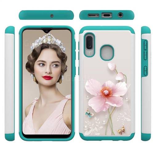 Pearl Flower Shock Absorbing Hybrid Defender Rugged Phone Case Cover for Samsung Galaxy A10e