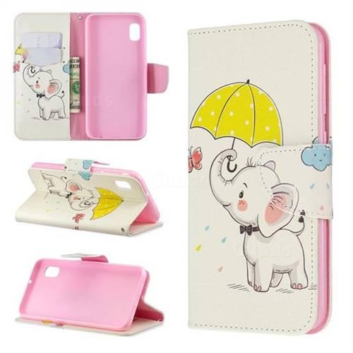 Umbrella Elephant Leather Wallet Case for Samsung Galaxy A10e