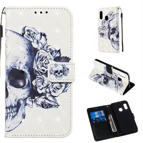 Skull Flower 3D Painted Leather Wallet Case for Samsung Galaxy A10e