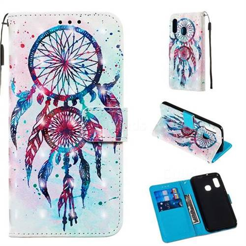 ColorDrops Wind Chimes 3D Painted Leather Wallet Case for Samsung Galaxy A10e
