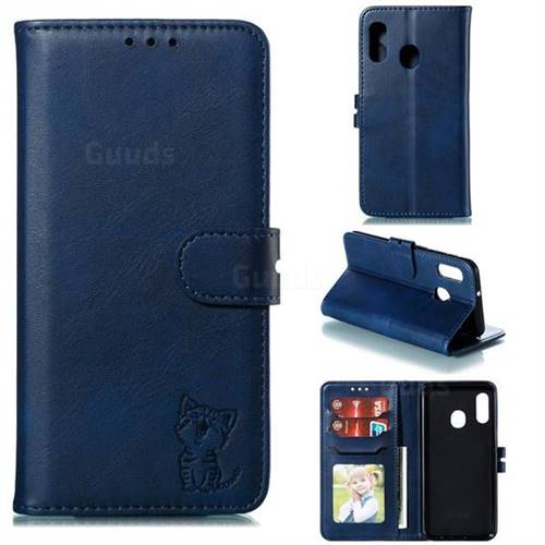 Embossing Happy Cat Leather Wallet Case for Samsung Galaxy A10e - Blue