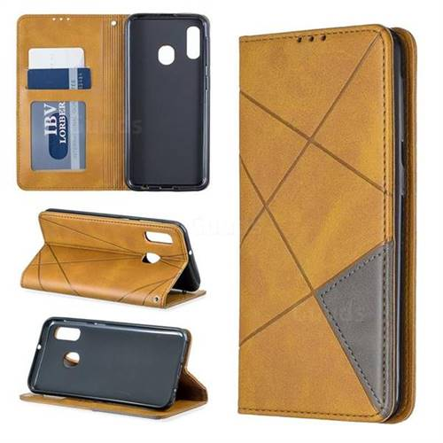 Prismatic Slim Magnetic Sucking Stitching Wallet Flip Cover for Samsung Galaxy A10e - Yellow