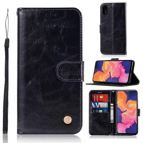 Luxury Retro Leather Wallet Case for Samsung Galaxy A10e - Black