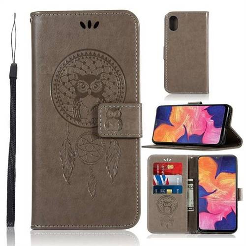 Intricate Embossing Owl Campanula Leather Wallet Case for Samsung Galaxy A10e - Grey