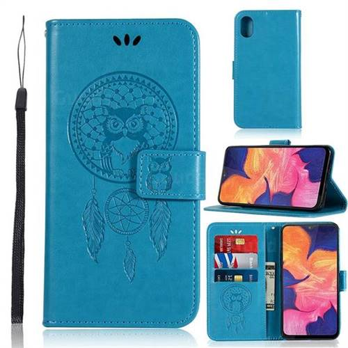 Intricate Embossing Owl Campanula Leather Wallet Case for Samsung Galaxy A10e - Blue