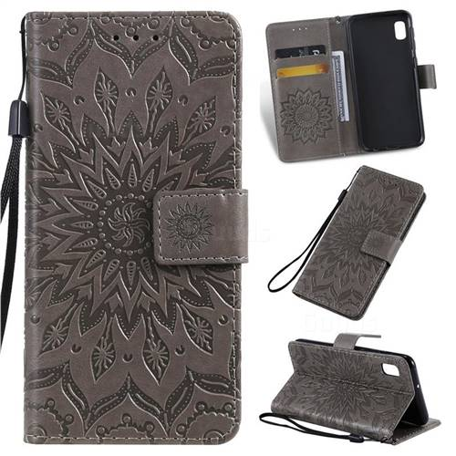Embossing Sunflower Leather Wallet Case for Samsung Galaxy A10e - Gray