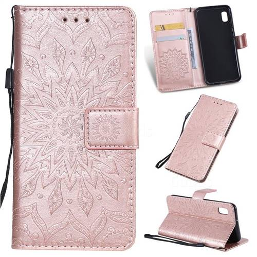 Embossing Sunflower Leather Wallet Case for Samsung Galaxy A10e - Rose Gold