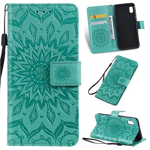 Embossing Sunflower Leather Wallet Case for Samsung Galaxy A10e - Green