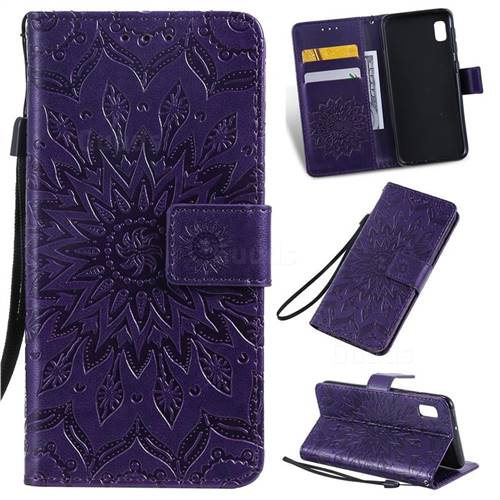 Embossing Sunflower Leather Wallet Case for Samsung Galaxy A10e - Purple