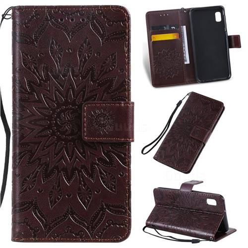 Embossing Sunflower Leather Wallet Case for Samsung Galaxy A10e - Brown