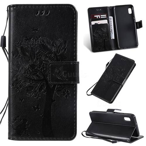 Embossing Butterfly Tree Leather Wallet Case for Samsung Galaxy A10e - Black