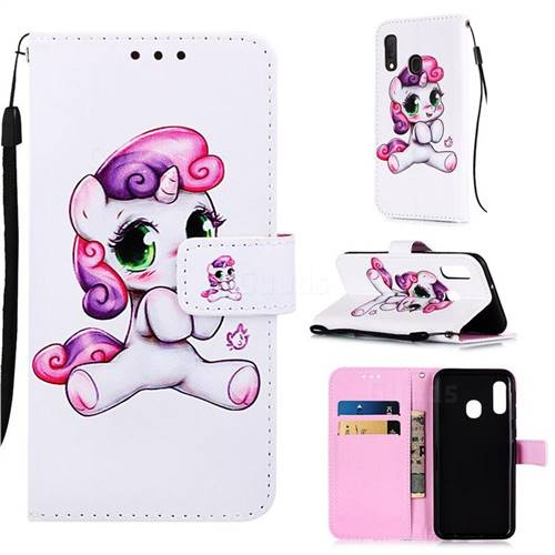 Playful Pony Matte Leather Wallet Phone Case for Samsung Galaxy A10e