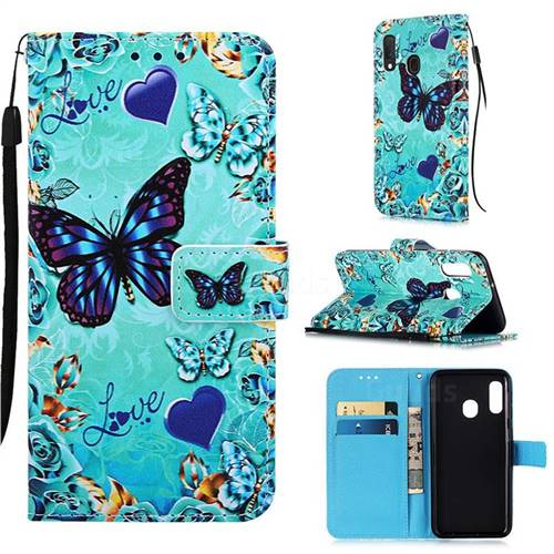 Love Butterfly Matte Leather Wallet Phone Case for Samsung Galaxy A10e