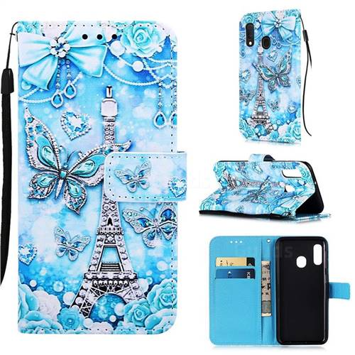 Tower Butterfly Matte Leather Wallet Phone Case for Samsung Galaxy A10e
