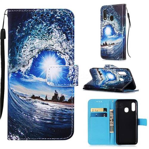 Waves and Sun Matte Leather Wallet Phone Case for Samsung Galaxy A10e