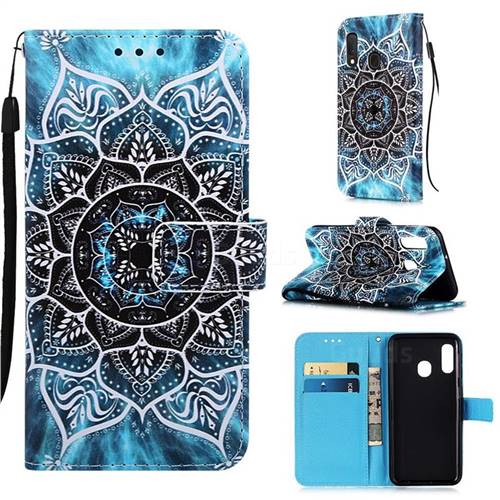 Underwater Mandala Matte Leather Wallet Phone Case for Samsung Galaxy A10e