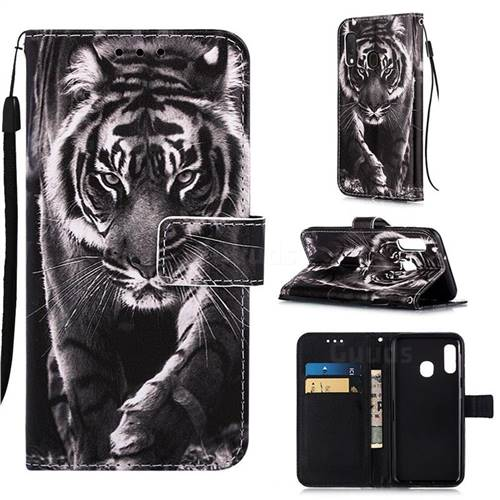 Black and White Tiger Matte Leather Wallet Phone Case for Samsung Galaxy A10e